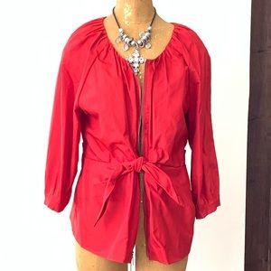 DKNY Unique Red Zip Up Blazer Size 12